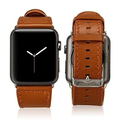 Jisoncase 42MM Apple Watch Band Genuine Lambskin Leather