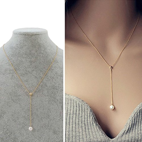 CIShop Titanium Steel Gold Bead Pearl Necklace Collar necklace (Style (Pearl Jewelry)