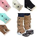 HP95(TM) Kids Girl Crochet Knitted Lace Cuffs Leg Warmer Socks Winter Boot Socks