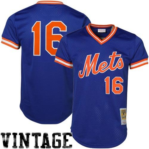 New York Mets Throwback Jersey - MLB Mitchell & Ness Dwight Gooden New York Mets Authentic Throwback Jersey-Royal Blue (Small)