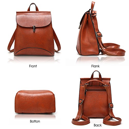 Women's Pu Leather Backpack Purse Ladies Casual Shoulder Bag ...