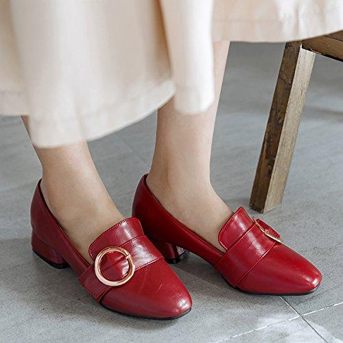 Show Shine Dames Dikke Hak Dias Casual Loafers Schoenen Rood