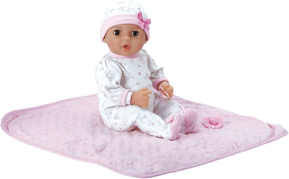 Adora Adoption Baby Hope 16 Inch Vinyl Girl Newborn Weighted Soft Cuddle Body Baby Doll Toy Gift Set with Open Close Blue Eyes for 3 Year old kids and up