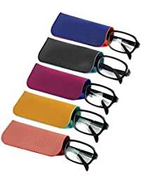 14840ff8bbf8 (5 PACK   3 PACK) 2 Tone Style Soft Pouch Reading Eyeglass Storage Case