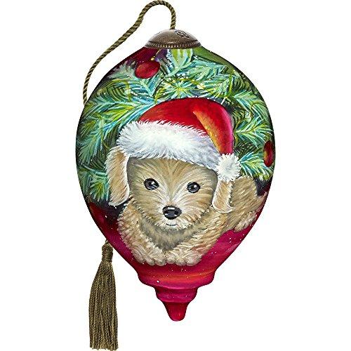 Precious Moments, Ne'Qwa Art 7171129 Hand Painted Blown Glass Petite Princess Christmas Puppy Ornament, 3-inches