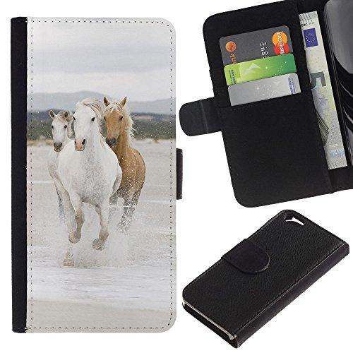 EuroCase - Apple Iphone 6 4.7 - Beautiful Wild Horses - Cuir PU Coverture Shell Armure Coque Coq Cas Etui Housse Case Cover