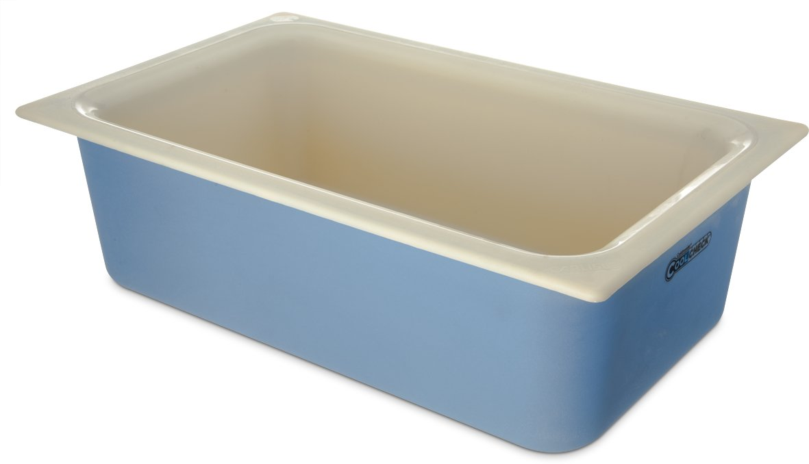 Carlisle CM1100C1402 Coldmaster CoolCheck 6'' Deep Full-Size Insulated Cold Food Pan, 15 Quart, Color Changing, White/Blue