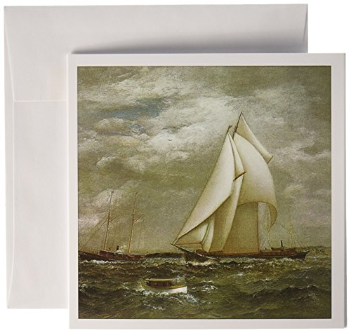 3dRose A centerboard schooner fo the New York Yacht Club by James Gale Tyler - Greeting Cards, 6 x 6 inches, set of 6 - Schooner Yacht