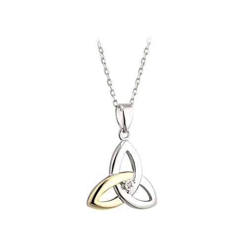 Failte Trinity Knot Necklace Sterling Silver and 10K Gold Diamond Made in Ireland