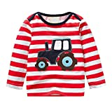 Zerototens Kids Cartoon T-Shirt,1-6 Years Old Children Clothes Long Sleeve Print Fox Bear Striped Blouse Tops Casual Outfit Clothes Autumn Winter Basic Tee Tunic Tops