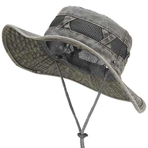 OMECHY Mens & Womens Adjustable Fishing Bucket Boonie Wide Brim Hat Outdoor Mesh Sun Protection Cap Hunting Hiking Safari Cap Hat, (Safari Stitch)