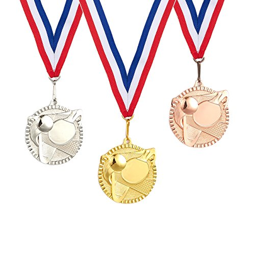 (Juvale 3-Piece Award Medals Set - Metal Olympic Style Table Tennis Gold, Silver, Bronze Medals for Ping Pong Games, Competitions, Party Favors, 2.3 Inches in Diameter with 32-Inch Ribbon)