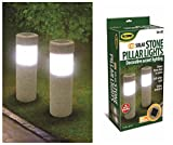 2 Solar Stone Pillar LED Lights Pathway Garden Yard Accent Walkway Landscape New