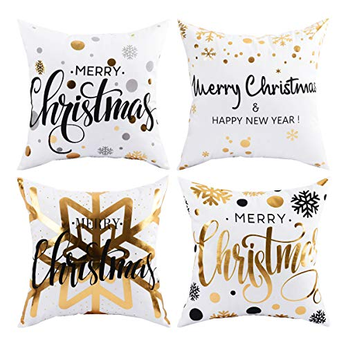 Pack of 4 Merry Christmas Pillow Cover Snowflakes and Happy New Year Decorative Pillow Cases Polyester Peach Cushion Case for Christmas Gift Bed Sofa Couch Decoration