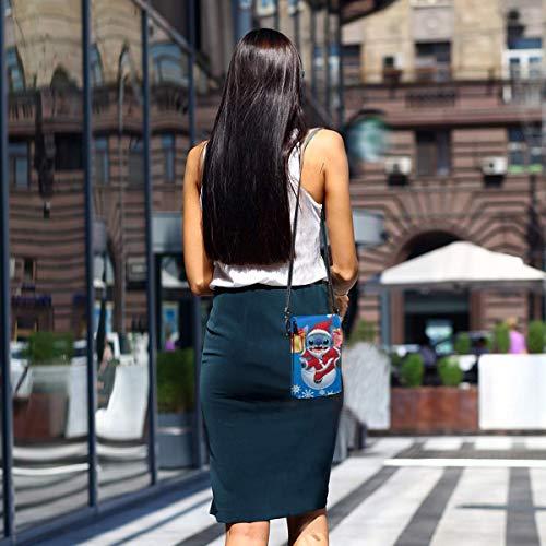 Hdadwy Mobiltelefon crossbody väska söm jul kvinnors crossbody handväskor handväska lätta väskor läder mobiltelefon hölster plånbok fodral axelväskor med justerbar rem