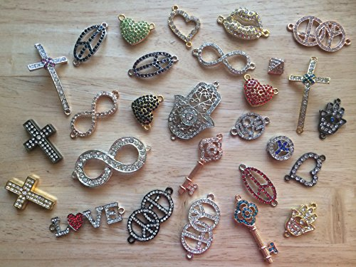 Heart Bracelet Connector - PEPPERLONELY Brand 12PC Assorted Rhinestone Hamsa Hand, Key, Love, Heart, Lip, Cross, Infinity Charms Pendants Links Connector For Necklace Friendship Bracelet