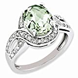 Jewelry Best Seller Sterling Silver Diamond & Oval Checker-Cut Green Quartz Ring