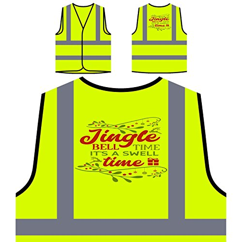 Jingle bell time its Personalized Hi Visibility Yellow Safety Jacket Vest Waistcoat u100v (Bell Jingle Personalized)
