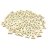 Set Of 200 Wooden Scrabble Tiles Letters With 1 Rack Holder Set For Board Games, Wall Decor & Arts And Crafts