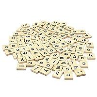 200のセット木製Scrabbleタイル文字with 1ラックホルダーセットボードゲーム、壁の装飾& Arts and Craftsの商品画像