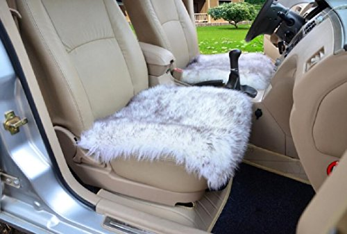 OKAYDA Square Natural Sheepskin Seat Cushion Cover 1 Pc Universal Fit Fur Cushion for Car, Chair and Armchair (Gray) (Times Square Mit Kindern)