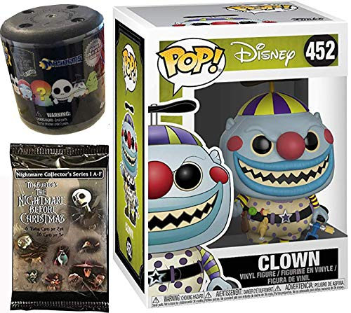 Beanie Clown Figure Nightmare Before Christmas Smiling Pop! NBC Vinyl #452 Bundled with + Fash EMS Soft Mini Blind Character Trick-Or-Treat Halloweentown Movie Trading Cards Pack 3 ()