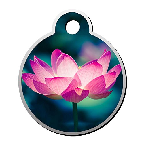 Lotus Water Lily Pet ID Tags Dogs Tag Cats Zinc Alloy Round Shaped Identity Pendant Trendy Pets Torque Double Sided Printed - Custom-made for Puppy Kitten
