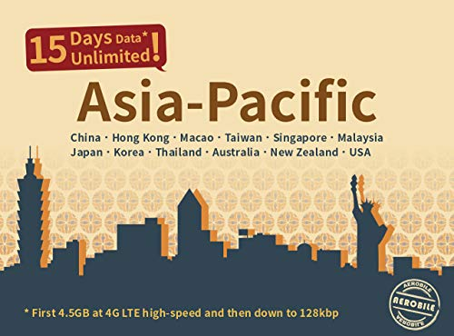 Asia Pacific Unlimited Data SIM- 15 Days Japan, China, Hong Kong, Taiwan, Singapore, Malaysia, Korea, Thailand, US, Australia, New Zealand, Macao 4G High Speed Coverage ()