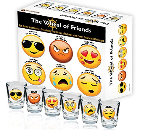 Fun Emoji Shot Glasses Describing Your Group of Friends - Set of 6 - Funny Imprinted Messages