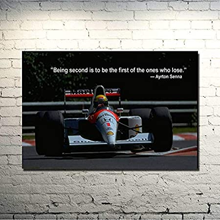 Size Inch Ochoos Ayrton Senna da Silva F1 Racer Art Silk Poster Print 13x20 inches Sports Pictures for Living Room Decor 005 - : 13x20