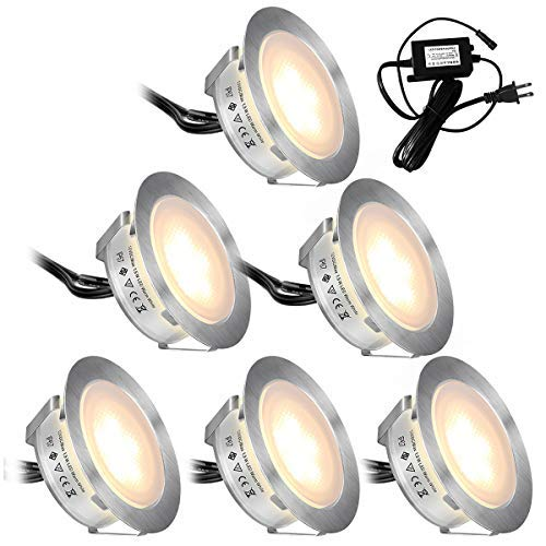 Recessed LED Deck Lights Kits 6 Pack,SMY(Upgrade Version) In Ground Outdoor LED Deck Lighting Waterproof IP67,Low Voltage LED Lights for Garden,Yard Steps,Stair,Patio,Pool Deck,Kitchen Decoration [並行輸入品]   B07R9T3DBD