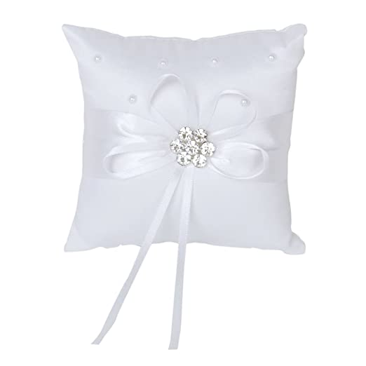 TOOGOO(R) Blanco Saten Diamante Flor perlas que casan Caso almohadilla del anillo 10cmx10cm