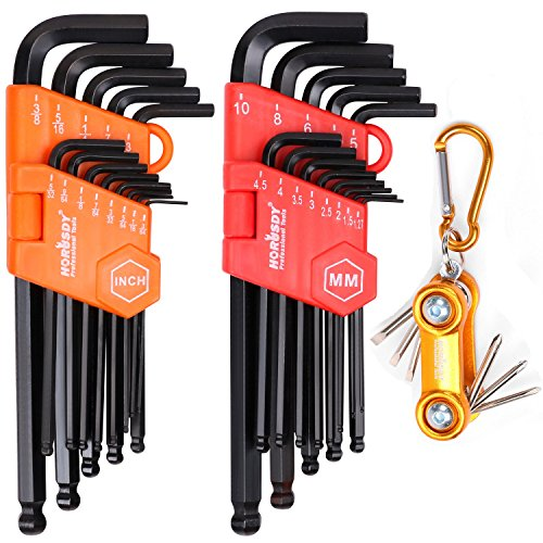 HORUSDY Allen Wrench Set, 32-Pieces Hex Key Set Long Arm Bal