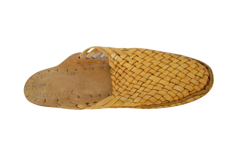 kalra Creaciones Hombres Zapatos de Cuero Tradicional Indio Étnico, Color Marrón, Talla 40.5 EU M