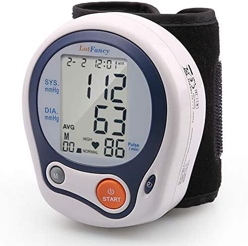 "LotFancy Blood Pressure Monitor Cuff Wrist, Digital Blood Pressure Monitor (5""-8""), 60 Reading Memory, Digital Sphygmomanometer for Irregular Heartbeat Detection, Portable Case Included"