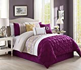 Purple and Gold Bedroom Set Pinch Pleat 7 Piece Bedding Royal Purple / Gold / White Embroidered QUEEN Comforter Set with accent pillows