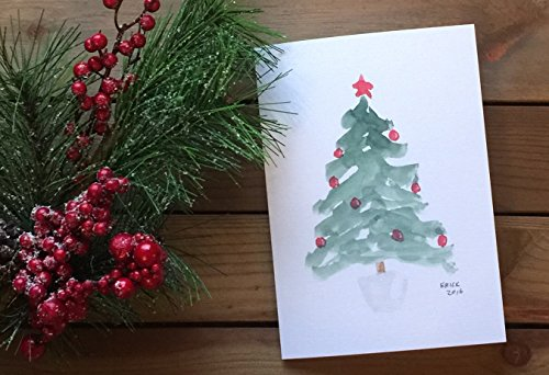 Watercolor Christmas Tree Holiday Greeting Card (Set of 10 including red and green envelopes) (Watercolor Christmas Cards)