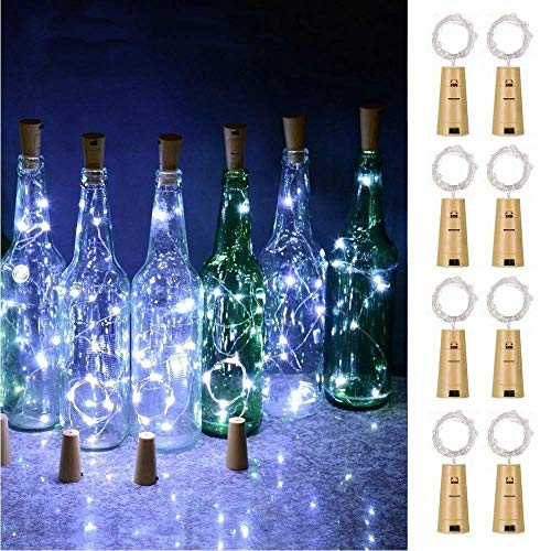 FANSIR Wine Bottle Lights with Cork, Battery Operated 20LED Cork Shape Silver Wire Fairy Mini String Lights for DIY…