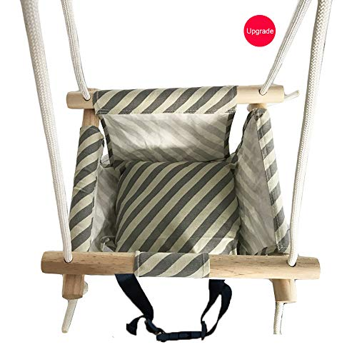 Wooden Secure Hanging Swing Hammock Toy for Infant to Toddler Indoor and Outdoor Include Safety Belt