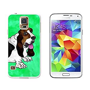 Basset Hound Close-up Watercolor Teal - Snap On Hard Protective Case for Samsung Galaxy S5 - White