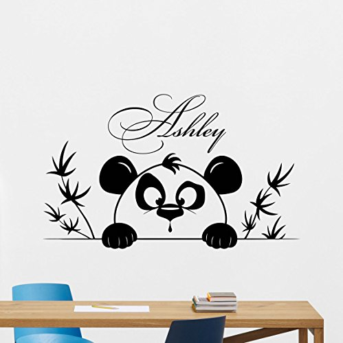 Personalized Name Panda Wall Decal Custom Girl Name Cartoon Poster Vinyl Sticker Kids Teen Boy Room Nursery Bedroom Wall Art Decor Mural 352xxx