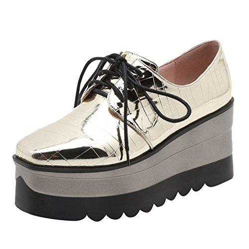 Pied De Charme Des Femmes Chic Wedge Haut Talon Dentelle Oxford Plateforme Chaussures Or