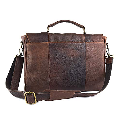 AG Leather Genuine Leather Briefcase Messenger Bag Attache Case 17
