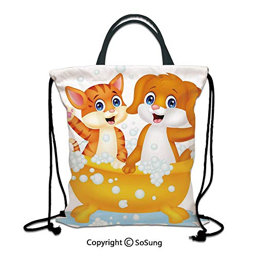 Kids 3D Print Drawstring Bag String Backpack,Cartoon Style Cute Cat and Dog in Bathtub Together with Bubbles Water Splash,for Travel Gym School Beach Shopping,Blue Yellow Brown