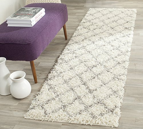 Safavieh Dallas Shag Collection SGD258F Ivory and Grey Runner (2'3'' x 8') by Safavieh