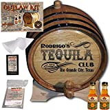 Personalized Tequila Making Kit (204) - Create Your Own Golden Tequila - The Outlaw Kit from Skeeter's Reserve Outlaw Gear - MADE BY American Oak Barrel - (Oak, Black Hoops, 2 Liter)