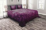 Lunarable Purple Bedspread Set King Size, Futuristic Bound Diagonal Disco Inspired Mosaic Effect Technology Themed Graphic Print, Decorative Quilted 3 Piece Coverlet Set with 2 Pillow Shams, Violet