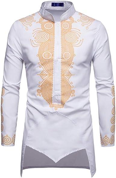 lymoo Camisetas de manga larga para hombre - Dashiki Button Down African Tops