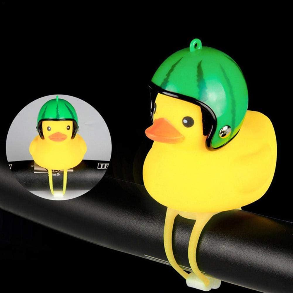 Design di Simpatici Anatre Attrezzatura per Campane Luce per Campanello per Bici QueenHome Spie Luminose per Campanello per Biciclette Piccola Anatra Gialla con Luce A Forma di Casco