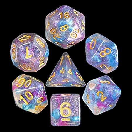 Juego de Dados poliédricos HD D&D para Dungeon y Dragons RPG Juego de rol MTG Pathfinder Juego de Mesa de 7 Dados Set Violet Storm: Amazon.es: Juguetes y juegos